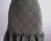 lace skirt  with ruffles green