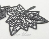 4 pcs- (1409-JB) 37mm x 32mm Jet black coated laser cut maple leaf pendants
