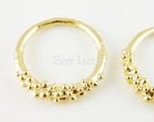1602-MG (4 pcs) Matte gold plated bubbly ring pendants