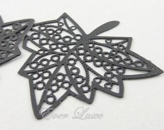 4 pcs- (1409-JB) 37mm x 32mm Jet black coated laser cut maple leaf pendants