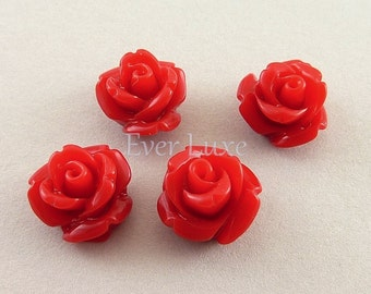 8 dark red small rose resin cabochons 9mm 5048-DR (dark red, 8 pcs)