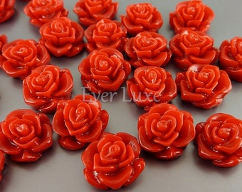4 colorful dark red color flower blossom cabochons, flower cabs with flat backs for rings, earrings, jewelry 5082-DR (dark red, 4 pcs)