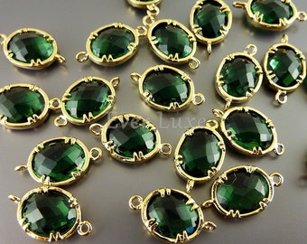2 Faceted oval round emerald glass gold plated bezel links for making jewelry designs, supplies 5041G-EM (bright gold, emerald, 2 pieces)