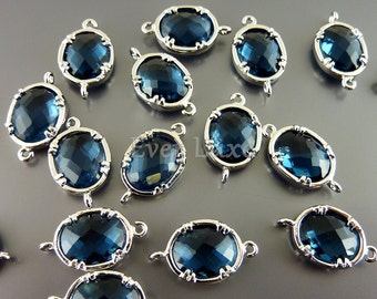 2 Faceted oval round blue sapphire glass bezel links for making jewelry designs, supplies 5041R-BS (bright silver, blue sapphire, 2 pieces)