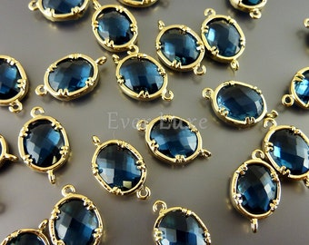 2 Faceted oval round blue sapphire glass, gold plated bezel links for making jewelry designs 5041G-BS (bright gold, blue sapphire, 2 pieces)