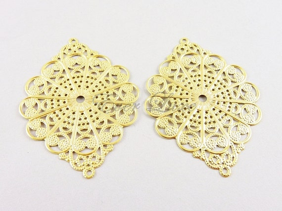 1543-BG (2 pcs) Bright 14k gold plated iron stampings filigree connectors