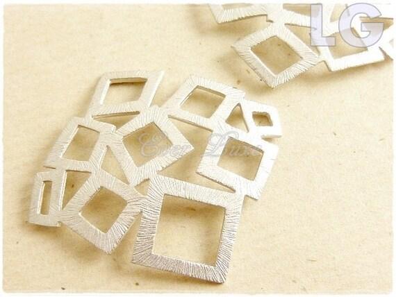 1483-MR-LG (2 pcs) LARGE- 28mm Matte rhodium plated multi square pendants