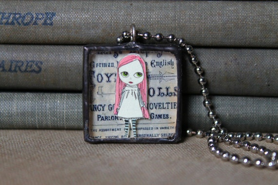 Reserved for Cinthia - Wallflower Series - Blythe paper doll pendant.