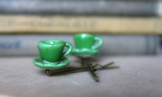 Tea for Two - Miniature Ceramic Tea Cup Hair Pins for Blythe - Set of 2