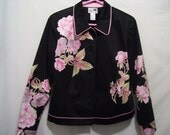 Vintage Asian Jacket. Island Republic. Size 10. Pink Floral. 80s. Full Lining. Shoulder Shaping. Princess Seam. Pink Piping. Black Buttons.