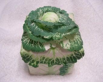 Vintage Party Gift Box, Green Satin Lining, Trinket Box, Lettuce Theme, Vegan Gift Box, Jewelry Garden Box, Birthday Party Box, Candy Box