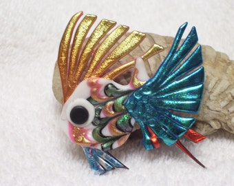 Vintage 90s, Tropical Fish Pin,  Wearable Art Brooch, Handmade Fish Accessory, Petite Fish Jewelry, Signed by Artist, Rainbow Colors