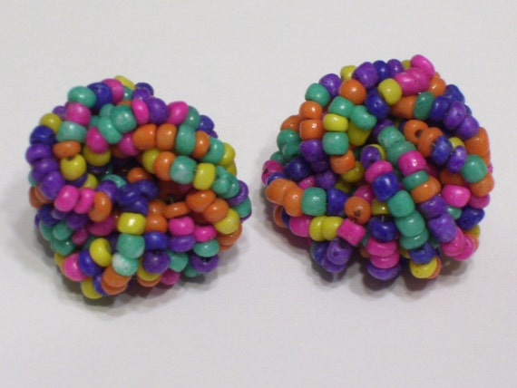 Vintage Bead Earrings. Glass Bead Bobs. 1970s. Pierced Ears. Boho Chic. Handmade Retro Earrings. Lightweight. Cluster Beads. Collectibles.