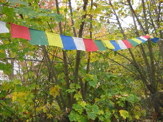 Sale - Tibetan Prayer flags - string of 5 flags - medium