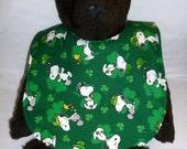Reversible Snoopy  St. Patrick's Day baby bib