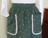 Christmas Apron Hostess Apron or Baking Apron Christmas Print Fabric Green with Bells and Holly