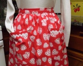 Red and White Valentine Heart Vintage Inspired Hostess Apron