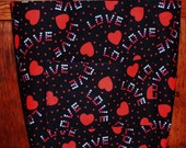 Love and Hearts Black and Red Reversible Heavy Duty Tote Bag Book Bag iPad Bag - Medium
