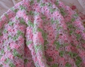 Pink and Green Baby Blanket Hand Crocheted Afghan - ready to ship