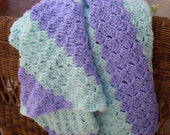 Purple and Green Baby Blanket Lap Blanket or Throw Heirloom Quality Hand Crocheted