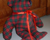 Christmas Teddy Bear Primitive Decoration in Green and Red Plaid