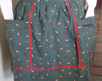 Green Christmas Apron Vintage Inspired Bells Berries and Bows Holiday Hostess Apron