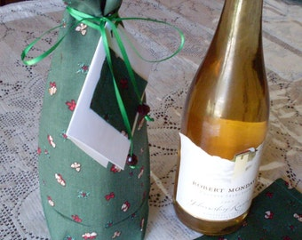 Christmas Fabric Tie Gift Bag with Gift Tag for Wine Bottle Reusable Eco Friendly