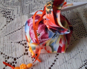 Floral Fabric Gift Wrap Bag - Extra Small for Jewelry Cosmetics or Bath Spa items