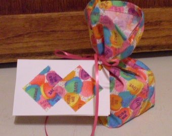 Conversation Hearts Fabric Gift Wrap Bag and Tag - Extra Small for Jewlery