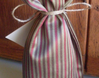 Brown, Green and Burgundy Fabric Wine Bottle Gift Bag with Tie and Gift Card OOAK Ready to ship