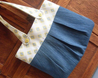 Blue and Yellow Jean Denim and Daisies Handmade Fabric Purse Large Shoulder Bag Tote