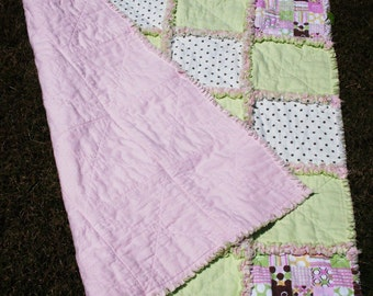 Pink and Green Baby Blanket Rag Quilt 39 x 39 Crib size