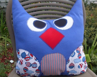 """Red White and Blue Owl Pillow Large 13"""" x  15"""" Decorative Pillow Patriotic  One of a Kind Ready to Ship"""