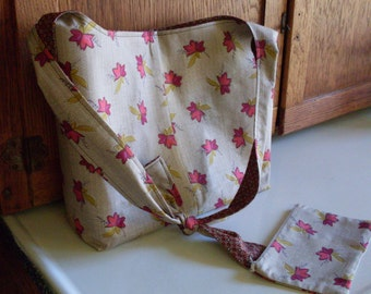 Tan Hobo Purse Sling Bag with Cosmetic Bag Tan with Red, Green, Rose and Brown Fall Leaves