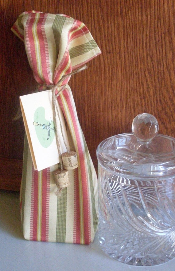 Fabric Wine Bottle Gift Bag with Tie and Gift Tag