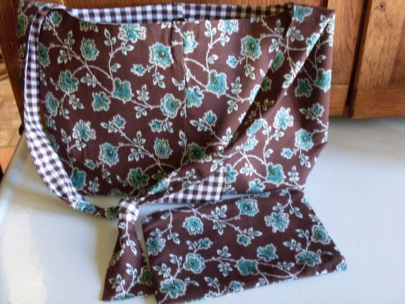 Brown and Turquoise Purse with Cosmetic Bag set Floral Print Custom Hobo Handbag Ready to Ship One of a Kind