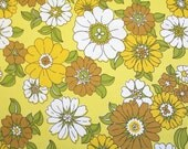flower power in yellows, a vintage sheet fat quarter