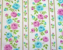 turquoise and pink trellis, a vintage sheet fat quarter