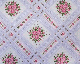flowering lattice in purple, a vintage sheet fat quarter