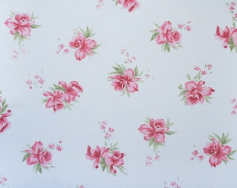 pink tea roses, a vintage sheet fat quarter