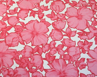 blooms in pink, a vintage sheet fat quarter