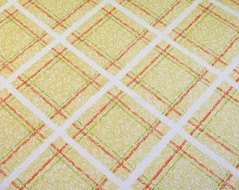 yellow plaid, a vintage sheet fat quarter