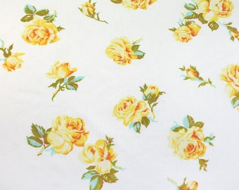 yellow roses bloom, a vintage sheet fat quarter