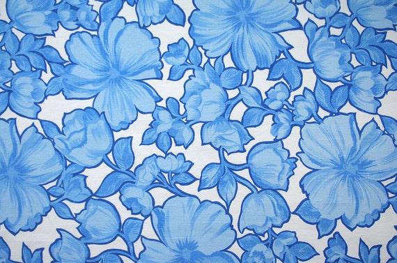 blooms in blue, a retro vintage sheet fat quarter