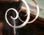 Jewelry, Earrings, Hoops, Spiral Sterling Silver Metalwork - Sculpted Artisan, Bespoke