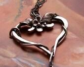Floral Heart Pendant- Flower, Leaves, Vine, Sterling Silver Metalwork, Art Nouveau, Renaissance, Gothic