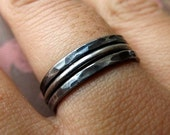 Handmade Stacking Rings in Oxidized Sterling Silver - Set of 3
