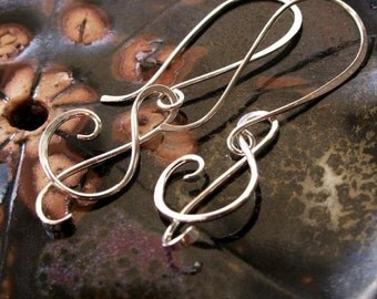 Treble Clef Earrings,  Sterling Silver (2 Inch - Large Design)