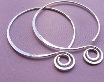 Balloon and Spiral ... Sterling Silver Hoop (1.75 Inch) - Artisan Design