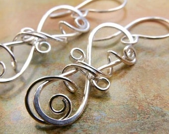 Sterling Silver Earrings, Spiral Earring Design, LARGE Earrings (2.5 Inch) Hand sculpted for you ...Like an elegant winding vine